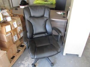 Office Furniture Black Desk Chair High Back Padded Arms White Stitching