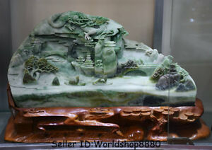 18 China Natural Dushan Green Jade Carved Dragon Boat River Water Bridge Statue