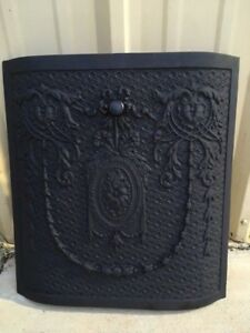 Antique Cast Iron Fireplace Cover Arched Wreath