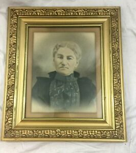 Antique Victorian Lg Ornate Gold Gilt Picture Frame Tinted Portrait Woman 25x28