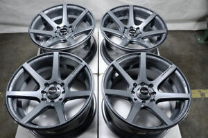15x8 Wheels Prelude Civic Accord Escort Miata Mini Cooper Gun Metal Rims 4 Lugs