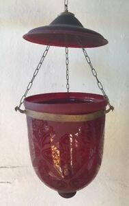 Antique Hanging Hurricane Candle Lamp Etched Cranberry Glass
