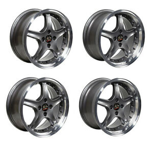 Ford Mustang Wheel Set 17 1995 Cobra R Style 4 Lug In Anthracite Staggered