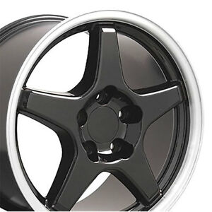 Grand Sport Wheel Set Gloss Black Machined Lip 4 Pieces Staggered Fitment