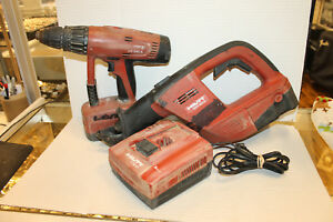 Hilti Wsr 650 a 24v Cordless Saw And Uh240a Drill With 2 Batteries And Charger