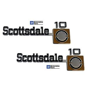 1975 1980 Chevy Scottsdale 10 Pick Up Truck Front Fender Emblem Pair Usa Made