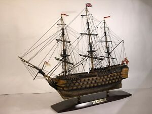 Vintage H M S Victory Sailing Ship Model Mariner Captain Ocean Nautical