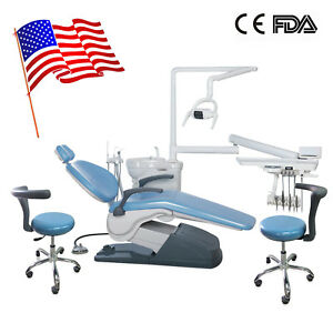 Dental Unit Chair Computer Controlled 110v 4hole With Extra Assisant Chair Blue