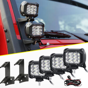 4x Tri Row 4inch 90w Flood Cree Led Light Bar mount Bracket Fit Jeep Wrangler Jk
