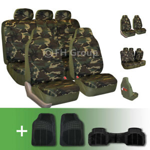 Camouflage Print Seat Covers W Black Floor Mats
