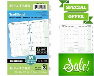 Classic Day timer Refill 2018 Two Page Per Month Portable Size Loose Leaf