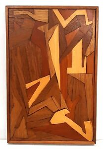 Mid Century Modern Marquetry Inlaid Wood Wall Hanging Cherry Oak Walnut Mahogany