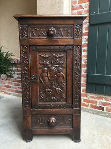 Tall Antique Spanish Carved Oak Renaissance Gothic Cabinet Lion Soldier B