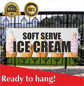 Soft Serve Ice Cream Banner Vinyl Mesh Banner Sign Flag Cone Sundae Banana