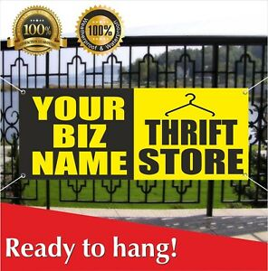 Your Biz Name Thrift Store Banner Vinyl Mesh Banner Sign Flag Custom Name Shop