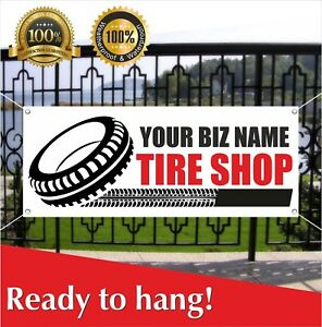 Your Biz Name Tire Shop Banner Vinyl Mesh Banner Sign Flag Custom Name Store
