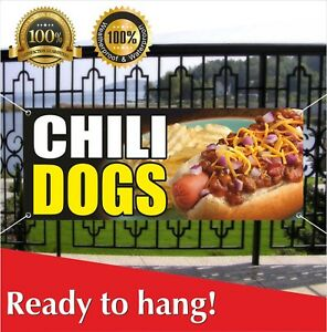 Chili Dogs Banner Vinyl Mesh Banner Sign Flag Fried French Fries Fish Burger