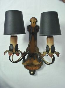 2 Moe Bridges Wall Sconce Lamps Arts Crafts 1920s Polychrome Light Fixtures