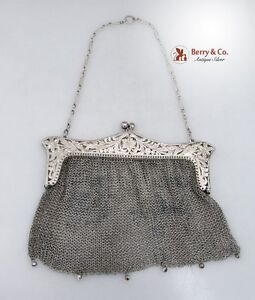 Ladies Evening Mesh Purse Sterling Silver 1920