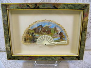 Ladies Souvenir Fan Depicting Sicilia Italy Celluloid Lace In Shadowbox