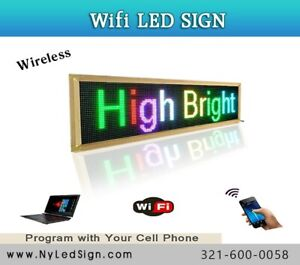 Led Sign Wireless Programmable Scrolling Message Sign 9 X 28 Tri Color