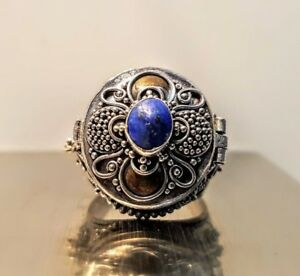 Antique 925 Sterling Silver Lapis Lazuli Art Deco Filigree Pill Box Ring 6 75 9g