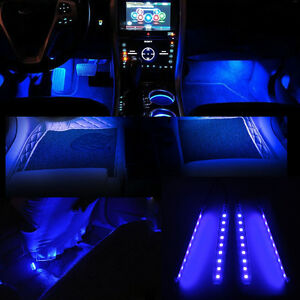 1x Blue 9 Led 12v Car Decal Accessories Floor 4in1 Atmosphere Lamp Universal Fit