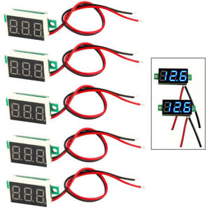 5x Mini Bright Blue Dc 0 30v Led Panel Voltmeter 3 Digital Display Voltage Meter