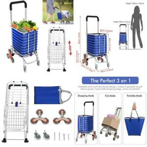 Utility Shopping Cart Collapsible Grocery Carts Rolling Swivel Wheels Pounds