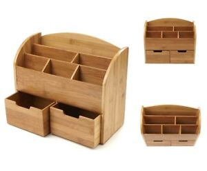 Desktop Organizer Wood Storage Drawers Home Office Desk Paper File Stacking Box