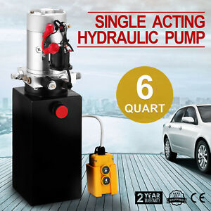 6 Quart Single Acting Hydraulic Pump Dump Trailer 12v Metal Power Unit