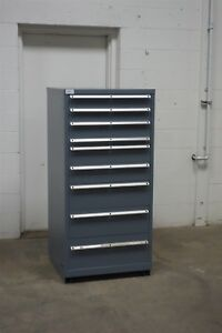 Used Lista 9 Drawer Cabinet Industrial Tool Storage Bin 1618 Vidmar