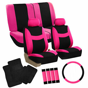 Universal Seat Covers For Car Suv Van Combo W Accessories Black Carpet Mats