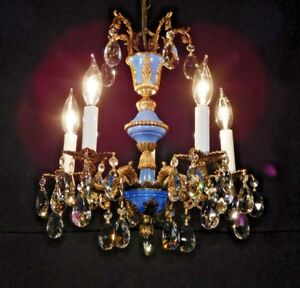 Antique French Brass 5 Arm 5 Lite Petite Blue Empire Lead Crystal Chandelier