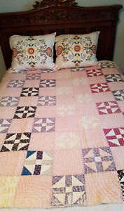 Antique Pink Purple Quilt 60 X 64 Shoo Fly Hand Stitched Hand Quilted