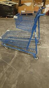 2 Tier Shopping Carts Large Blue Metal Basket Grocery Nursery Liquor Store Pet