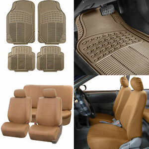 Tan Pu Leather Seat Covers For Car Suv W Beige Heavy Duty Floor Mats Combo