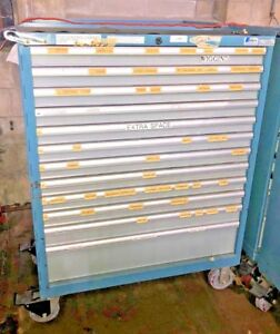 Used Lista 12 Drawer Modular Tool Cabinet On Casters Industrial Tool Bin