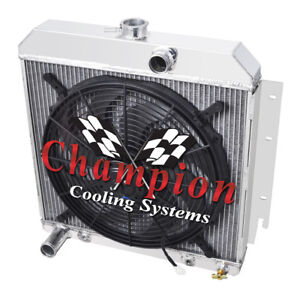 2 Row 1 Tubes Ace Champion Radiator W 16 Fan For 1964 Plymouth Valiant V8 Eng