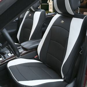 Pu Leather Cushion Seat Cover Front Bucket For Auto Car Suv Van Black White