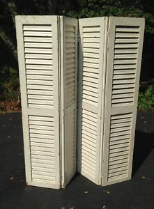 2 Pairs Vtg Wood Shutters Louver 61 Shop Display Divider Screen Antique Wedding