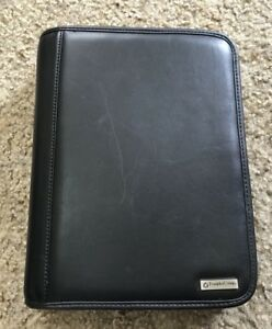 Faux Black Leather Franklin Covey Planner Classic Binder Zip Around Guc
