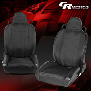 2 X Ajustable Woven Fabric Xl 01 High head Black Bucket Racing Seats Left