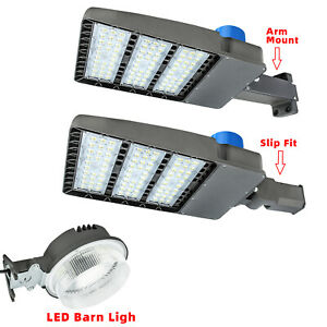 75w 300watt Led Shoebox Pole Light Parking Lot Flood Barn Lighting Ac110 277v