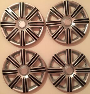 15 Inch Hubcaps Wheel Covers Universal Wheel Rim Cover 4 Pieces Set Silver Black