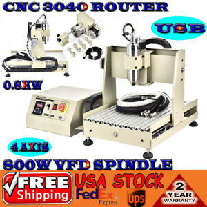 Usb 4 Axis 3040 Cnc Router Engraver 3d Engraving drilling milling Machine 800w