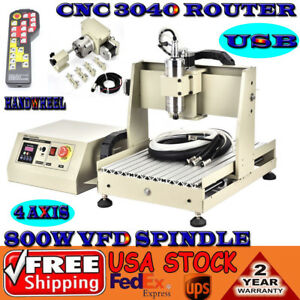 Usb 4 Axis Cnc Router 3040 Engraver Mill Carving Cut Machine 800w Controller
