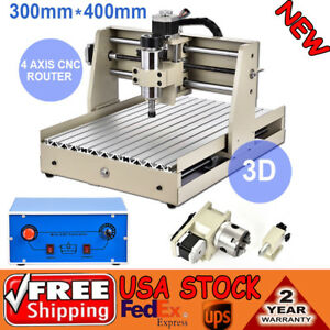 Desktop 4 Axis Vfd 400w 3040 Cnc Router Engraver Drill Mill Carve 3d Cut Machine