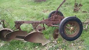 John Deere 2 Bottom Antique Tractor Plow No Reserve Farmall Allis Drag Trailer