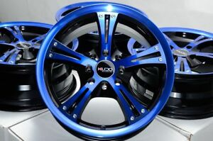 15 Wheels Aveo Cobalt Spark Escort Insight Civic Accord Black Blue Rims 4 Lugs